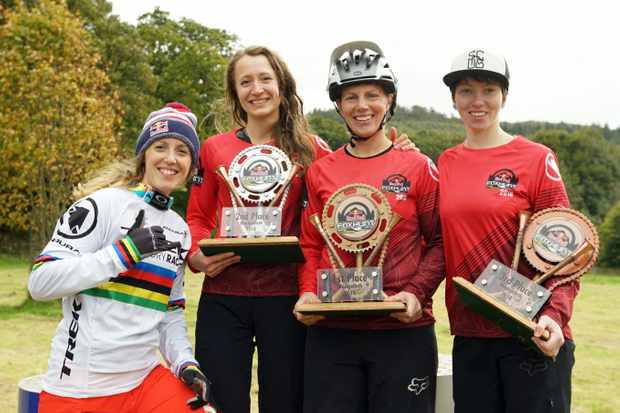 The 2018 girls podium of Francie Arthur, Katie Wakely and Stacey Fisher (plus Rachel Atherton, of course!) Photo: Jane Stockdale / Red Bull