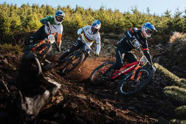 The three male foxes: Greg Callaghan, Loïc Bruni and Gee Atherton. Photo: Duncan Philpott / Red Bull