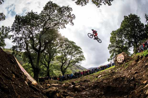 Gee Atherton launching the final sender at the Red Bull Hardline