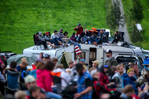 Crowds gather, as the riders psyche themselves up to hit the Fest line. Photo: Andy Lloyd
