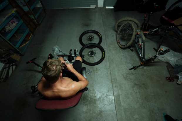 With his mechanic Marshy absent, Greg was forced to puzzle through the build of his own bike. Photo: Duncan Philpott