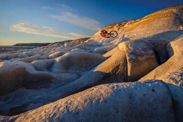 The Kazakhstan landscape makes the perfect playground for freerider Pavel Alekhin. Photo: Alexey Shabanov
