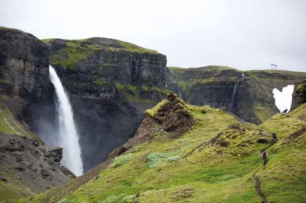 Manon Carpenter and Monet-Rose Adams take in Icelands beautiful yet sensitive landscape. Photo: Samantha Saskia Dugon