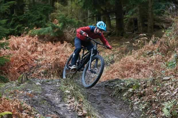 Rob Weaver riding a Calibre MTB . Cannop, Forest of Dean, Gloucestershire. January 2019.