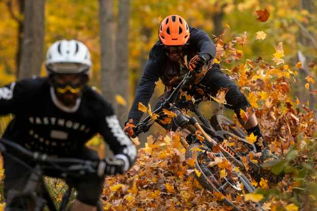 Thomas Vanderham blasting through the autumn colours of Bromont, Canada. Photo: Sterling Lorence