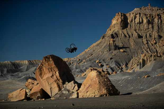 Brett Rheeder inverts a tabletop in the unearthly landscape of Utah. Photo: Sterling Lorence