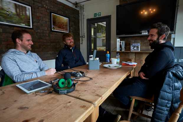 Chris Hall, Seb Stott and Rob Weaver. recording the MBUK episode of the Downtime Podcast. Photo: Steve Behr