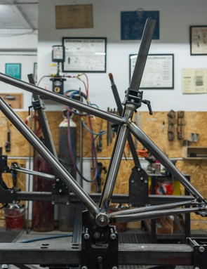 Our frame fully-tacked and ready to be brazed up proper. Photo: Ben Ripley
