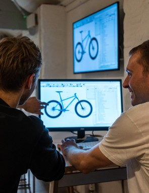 Ed and Tom Study from The Bicycle Academy talk through the finer points of the bike's design. Photo: Ben Ripley