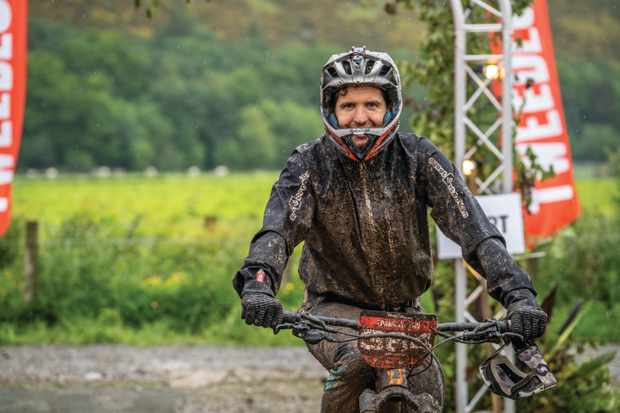Luke at the finish of the Transcend Enduro at the Transcend Bike and Music Festival. Photo: Brodie Hood